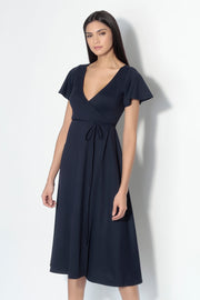 flutter sleeve wrap midi dress