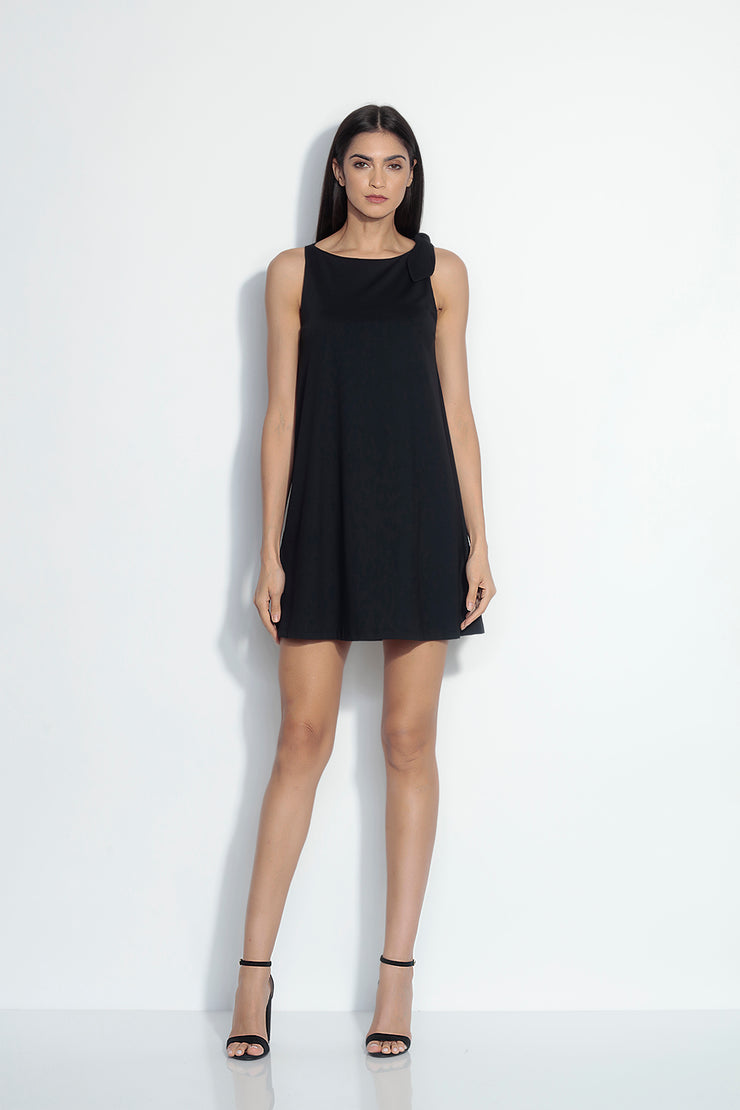 bow neck shift dress