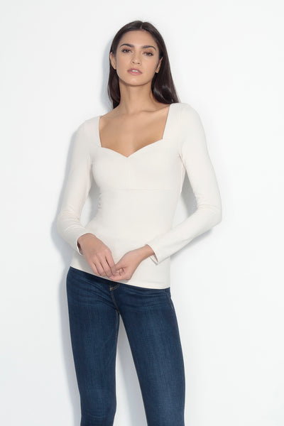 long sleeve sweetheart top