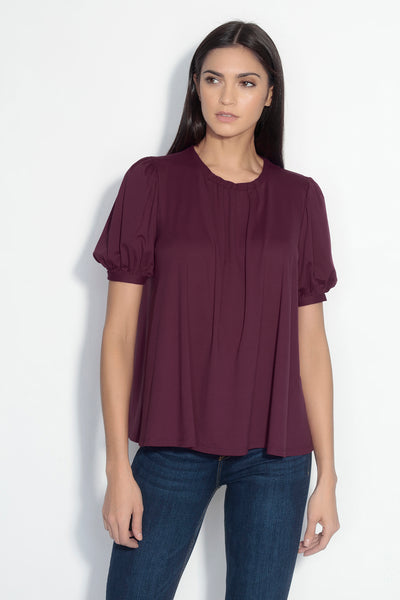 puff sleeve gathered band top
