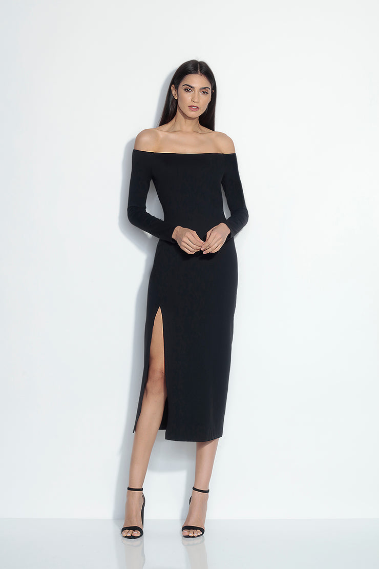 long sleeve off shoulder slit midi dress