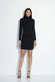 mock neck overlap gathered dress
