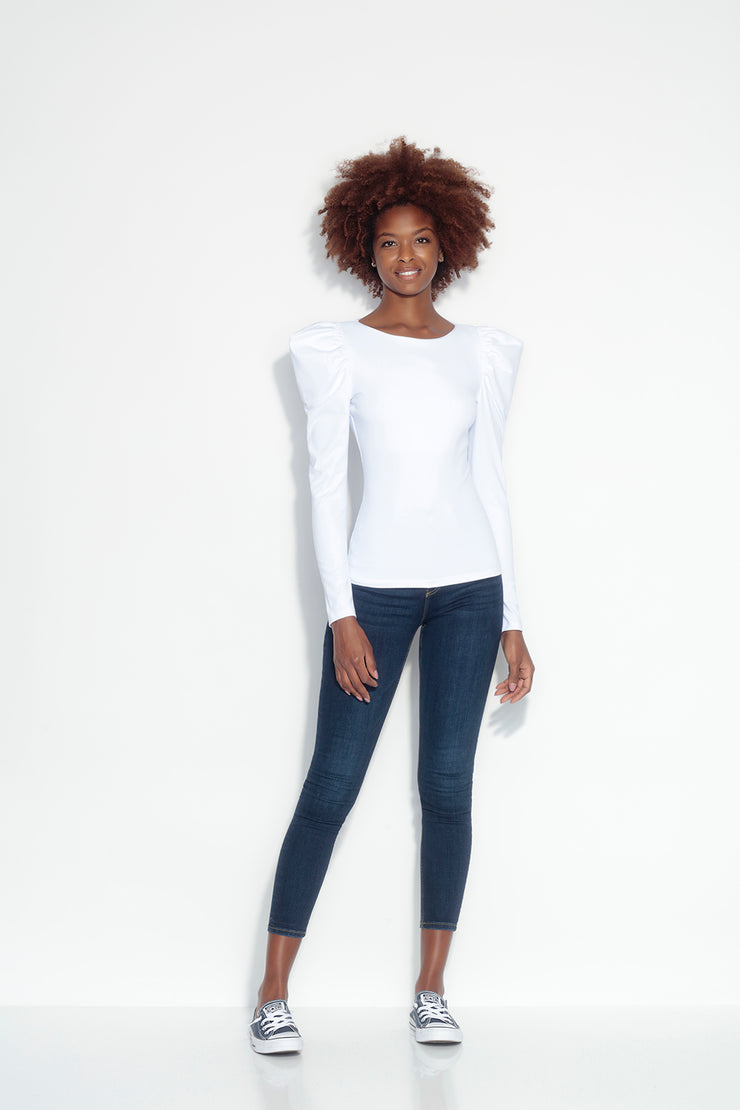 round neck gather sleeve top