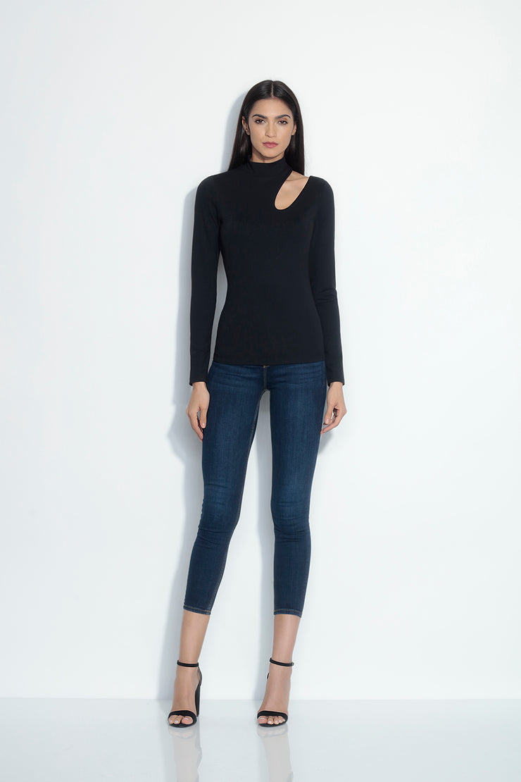 long sleeve mock neck cutout top