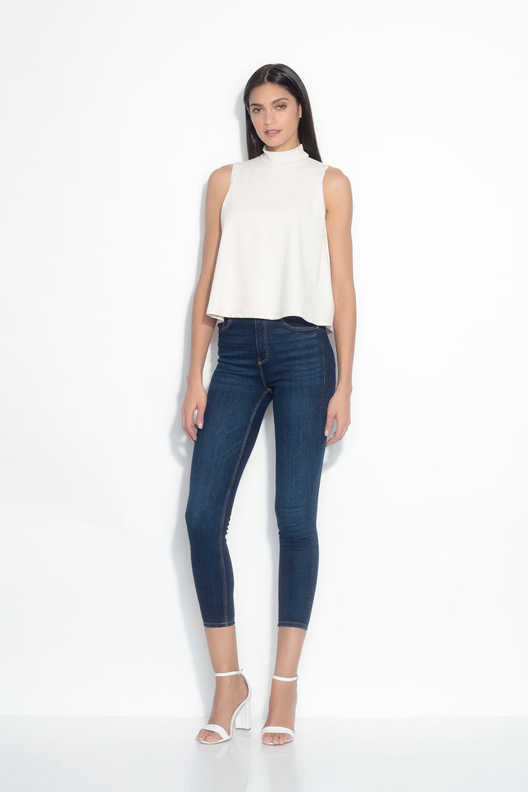 mock neck sleeveless flare top