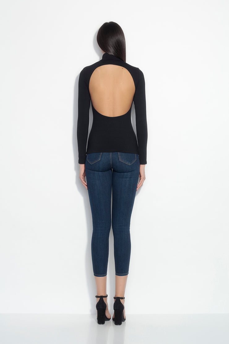 mock neck long sleeve open back top