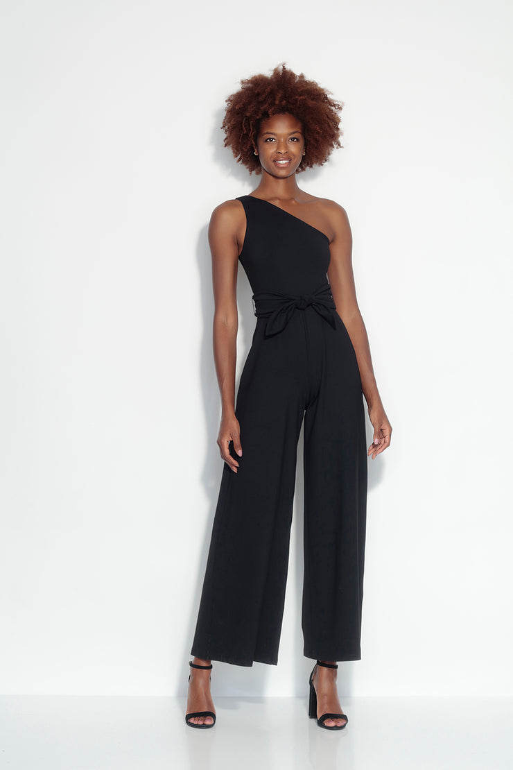 one shoulder tie jumpsuit