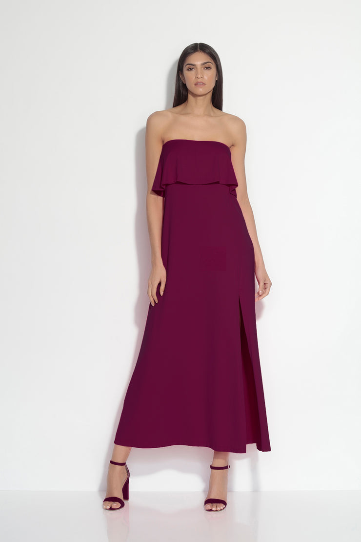 strapless overlay slit maxi dress