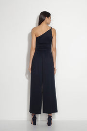 ruched twisted one shoulder jumpsuit