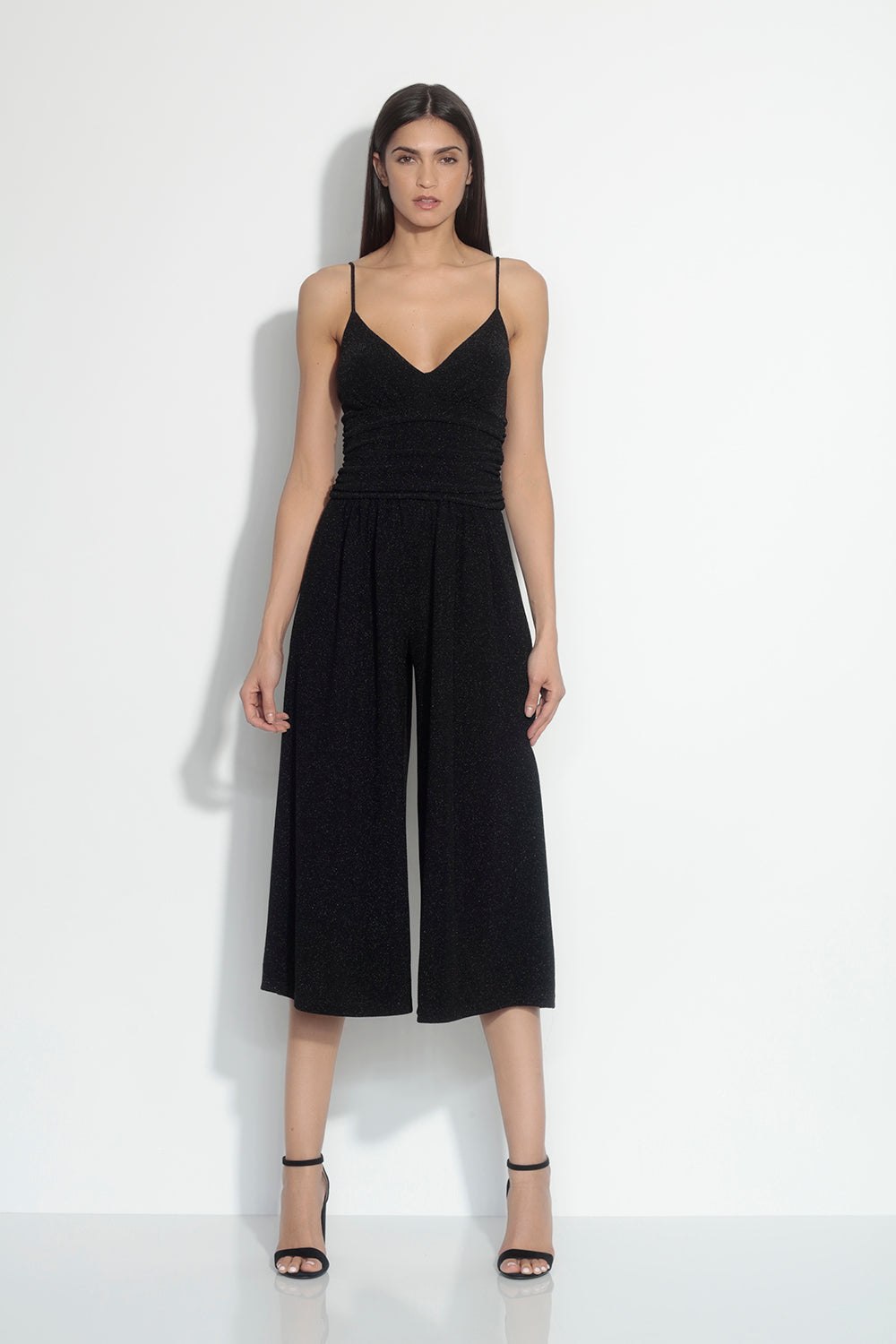 thin strap shimmer gathered jumpsuit