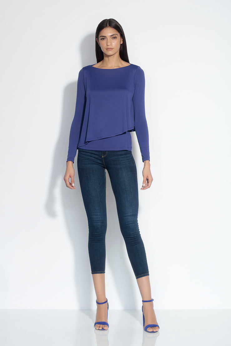 long sleeve angled layer top