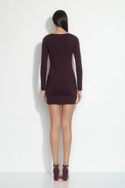 long sleeve square neck mini dress