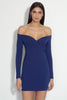 long sleeve off shoulder plunge dress 18""