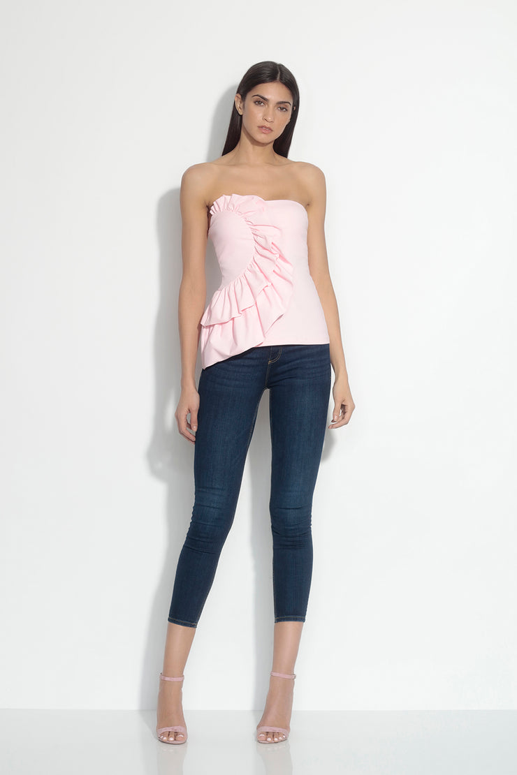gathered curved ruffle top