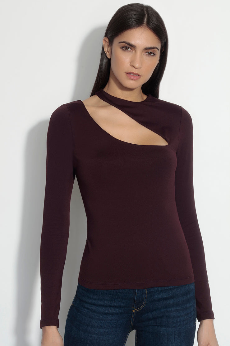 long sleeve slash front top