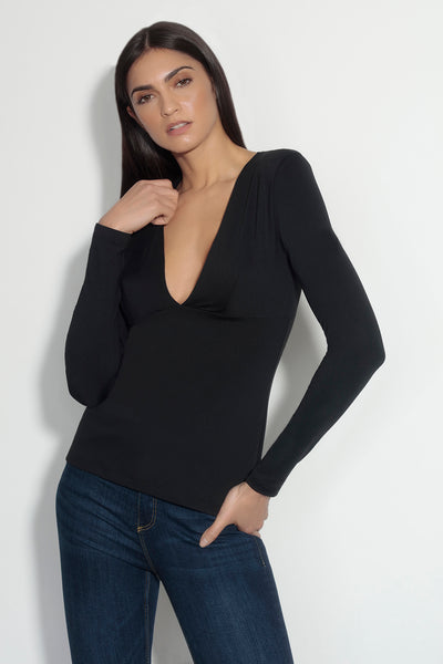 long sleeve plunge top