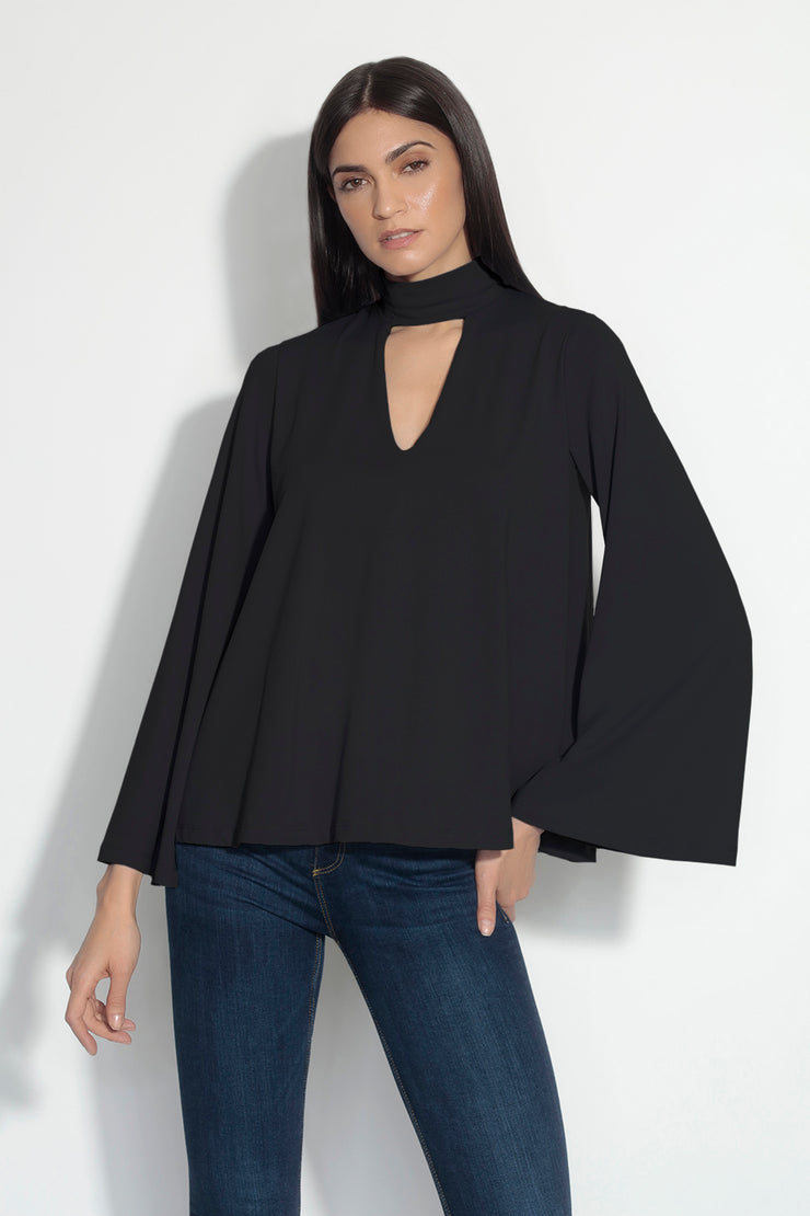 mock neck bell sleeve top