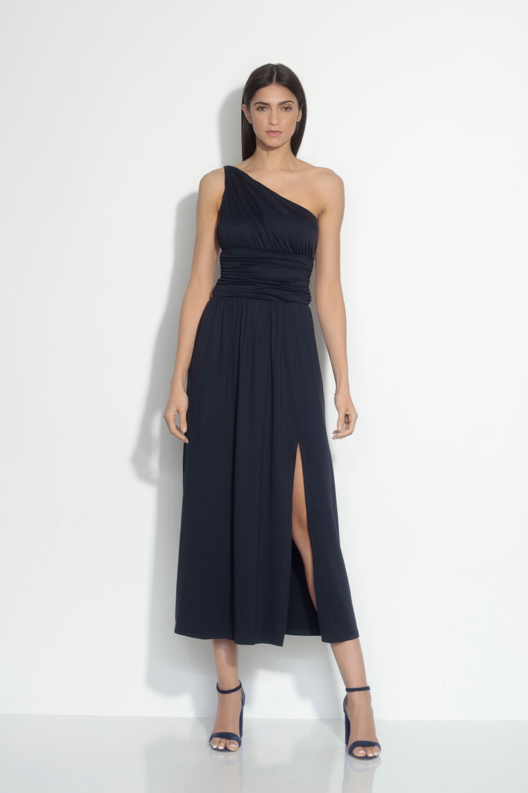 ruched twisted shoulder maxi slit dress
