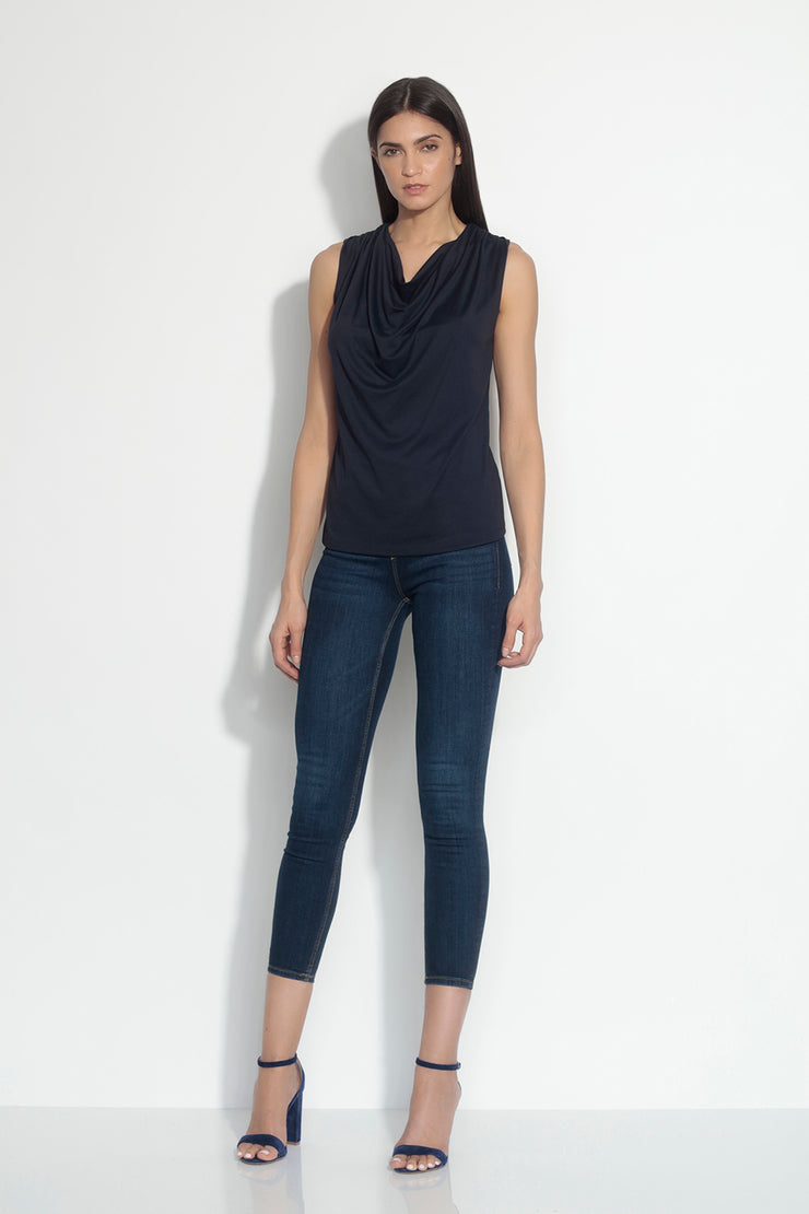 sleeveless cowl top