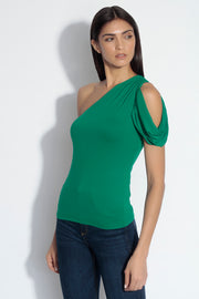 one shoulder open cowl sleeve top