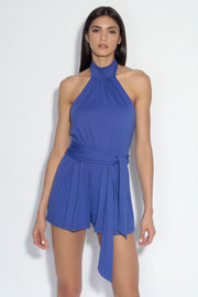 halter blouson romper with belt