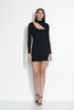 long sleeve mock neck slash front dress 18""