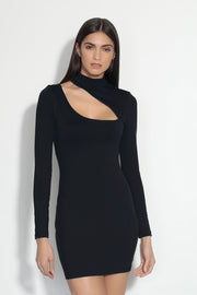 long sleeve mock neck slash front dress