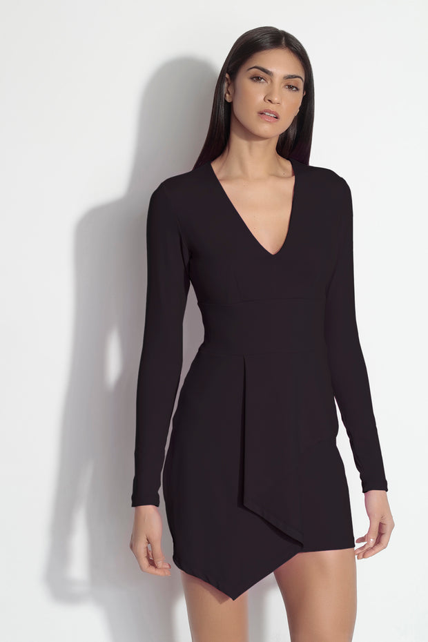long sleeve folded cascade front dress