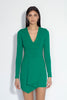 long sleeve folded cascade front dress 18""
