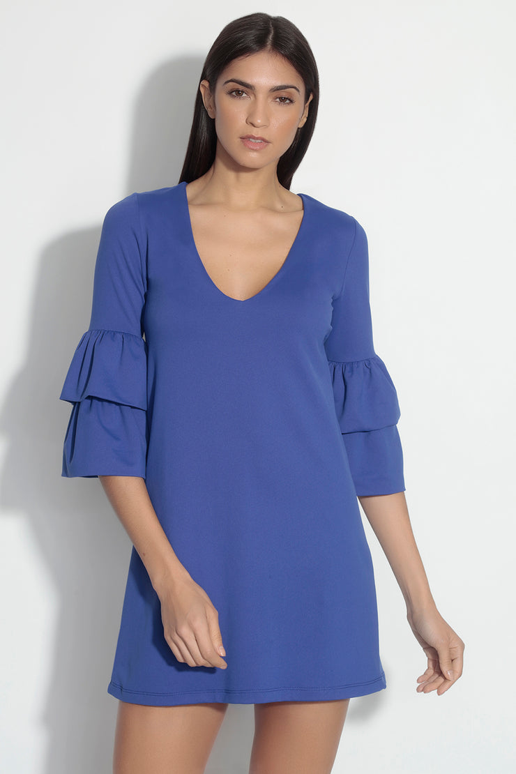 v neck layered sleeve dress
