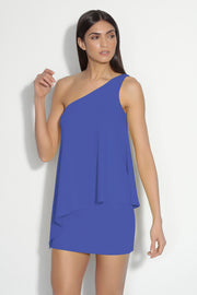 one shoulder angled double layer dress
