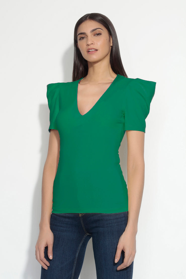 pleated sleeve deep v top
