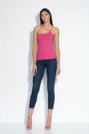one shoulder cross strap top
