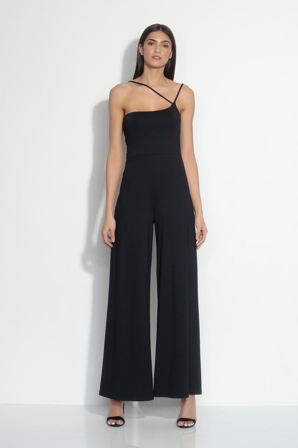"one shoulder cross strap jumpsuit 34"" inseam"