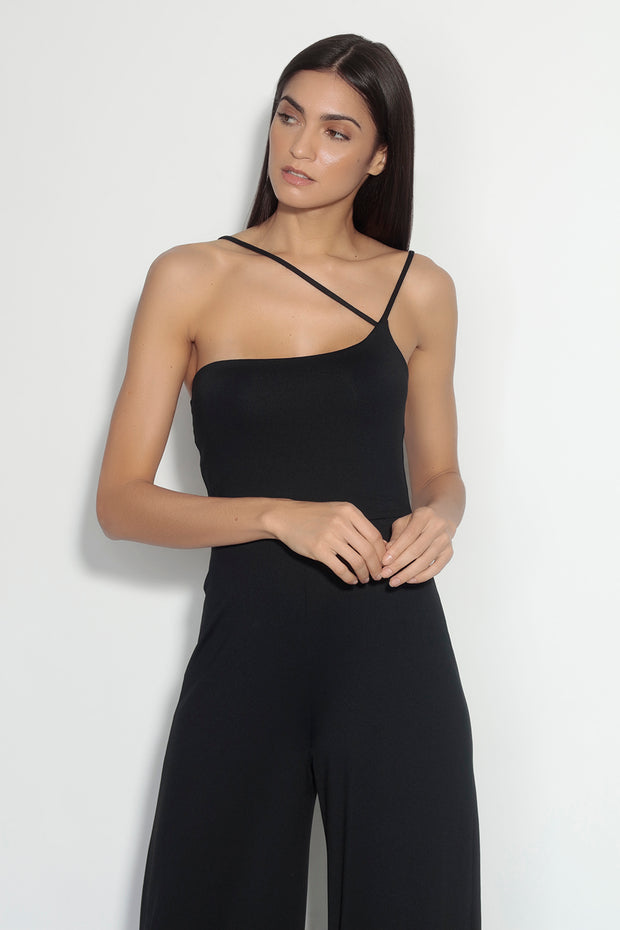 one shoulder cross strap jumpsuit