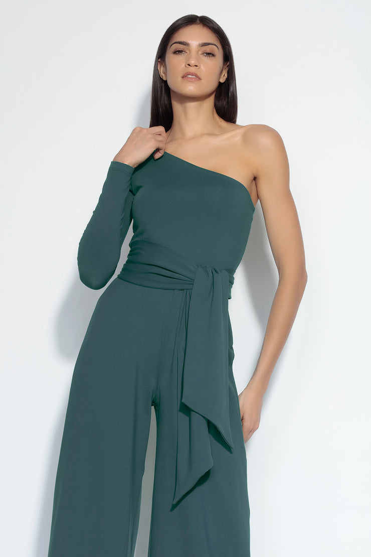 long sleeve one shoulder jumpsuit