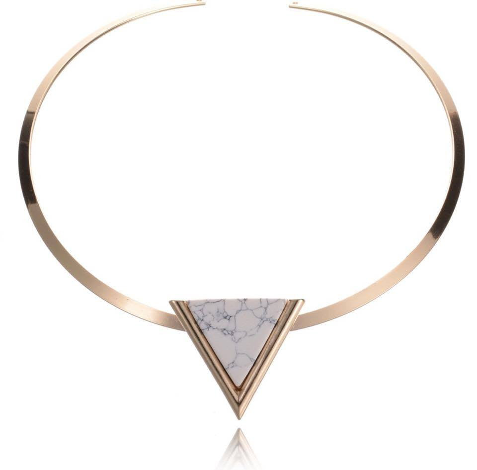503490f06df24 Gold Plated Punk Short Choker Necklaces With Black/White Geometric Triangle  Faux Stone