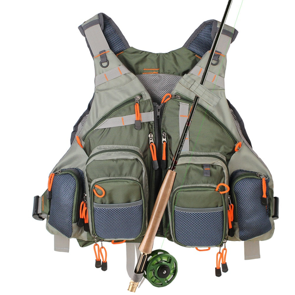 12 POCKET FISHING VEST WITH ROD HOLDER