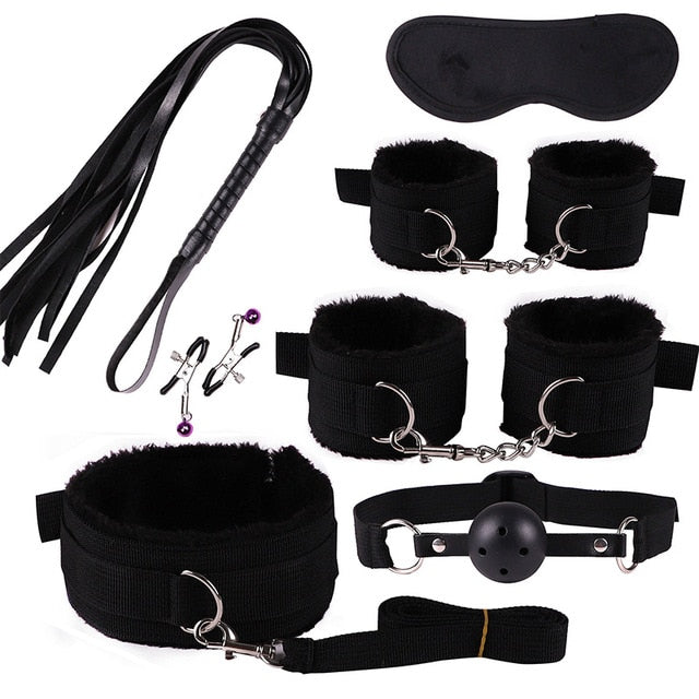 Handcuffs Collar Whip Gag Nipple Clamps Bondage Kit