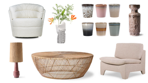 Janaika's favorite products like the twister chair, wicker coffee table, etc.
