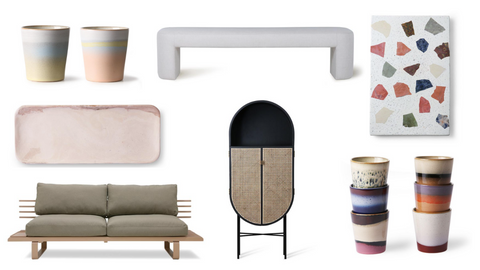 Sofia's favorite Urban Nest products like the lobby bench, retro oval cabinet, etc.