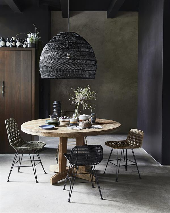 Wicker pendant lamp ball - Black