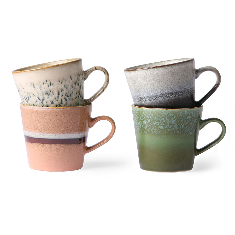 ceramic 70's cappuccino mugs (set of 4)