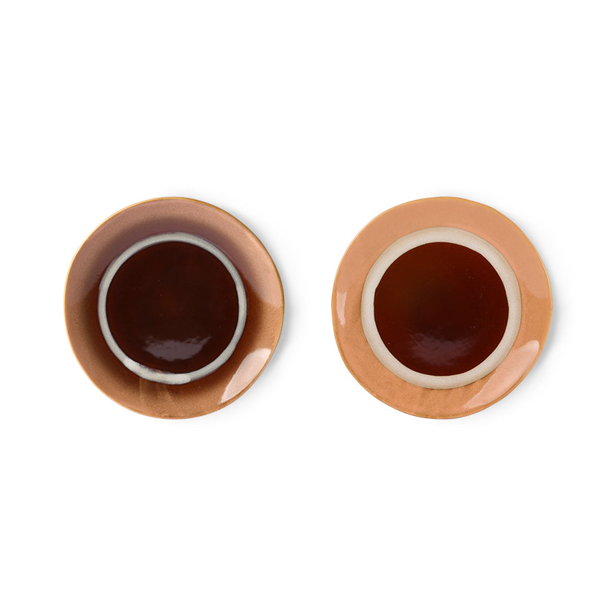 ceramic 70's dessert plate: stream ( set of 2)