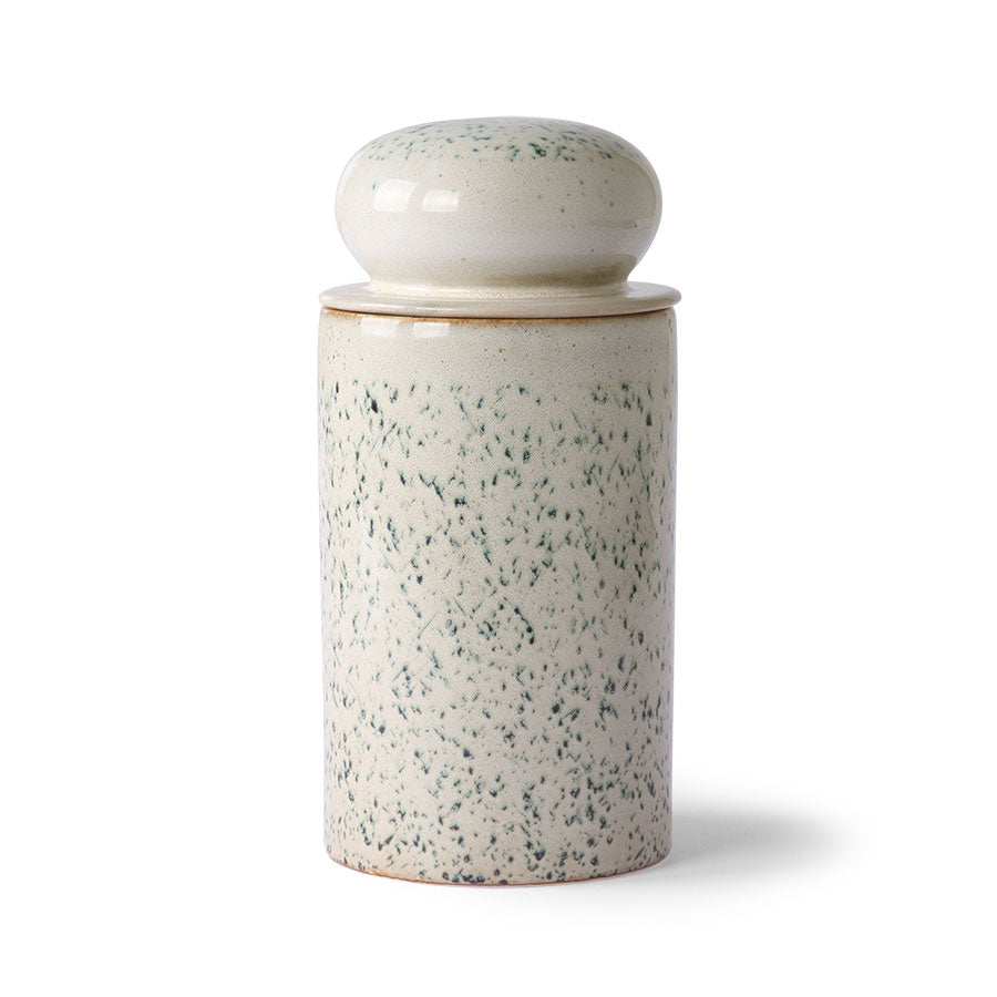 Ceramic 70's storage jar: hail
