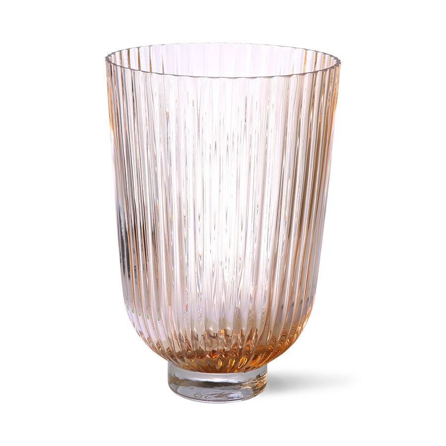 glass vase ribbed peach
