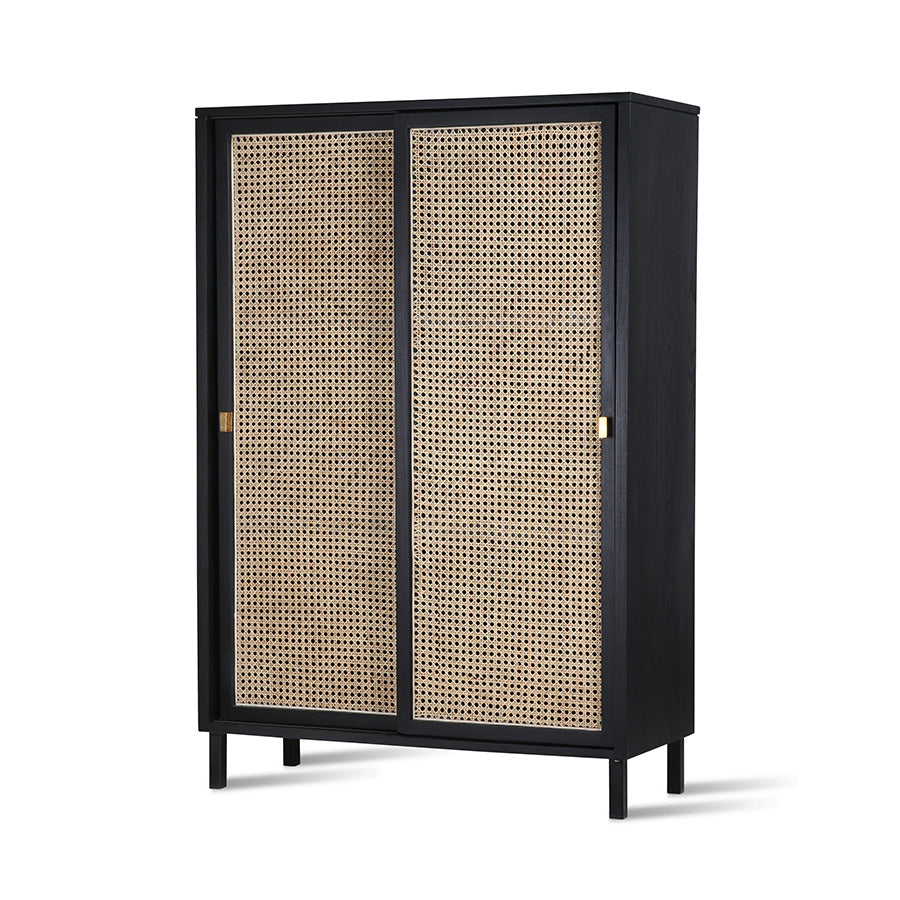 Webbing sliding door cabinet black