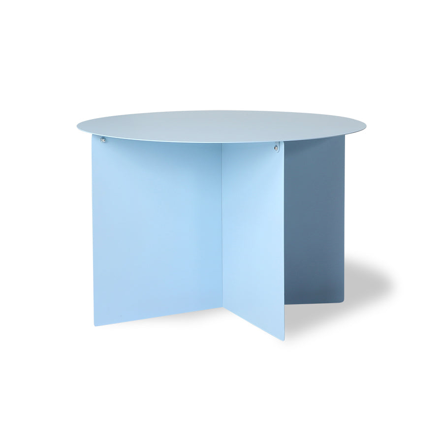 Metal side table round blue