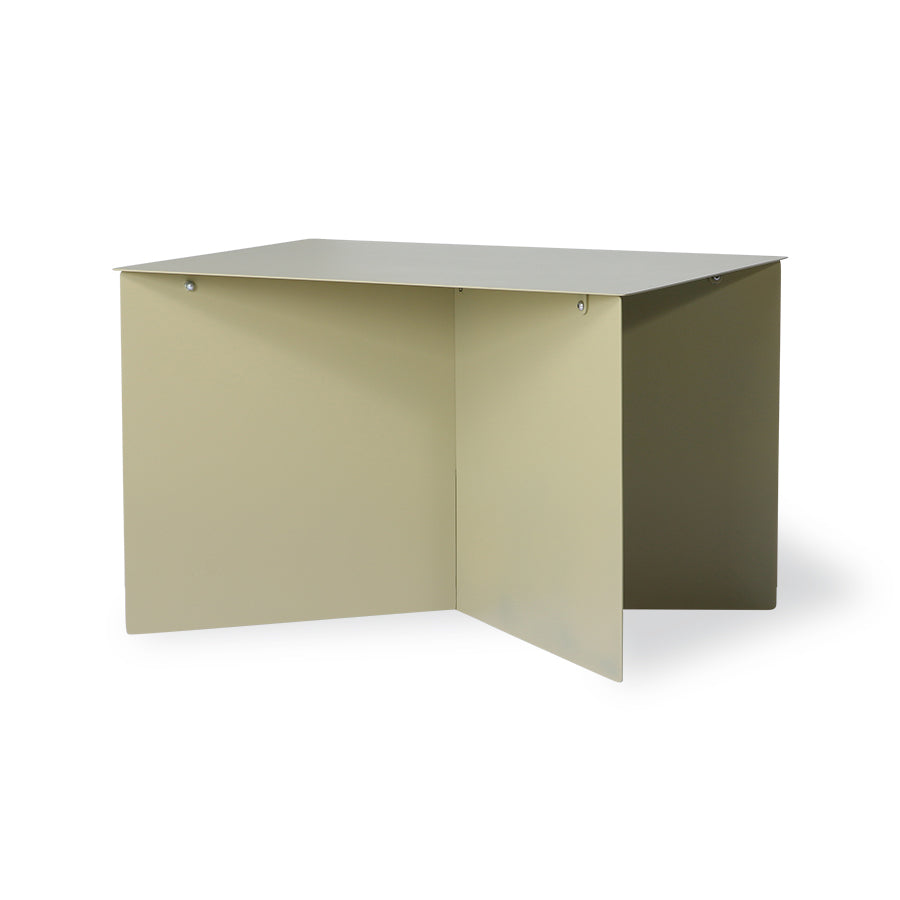 Metal side table rectangular olive