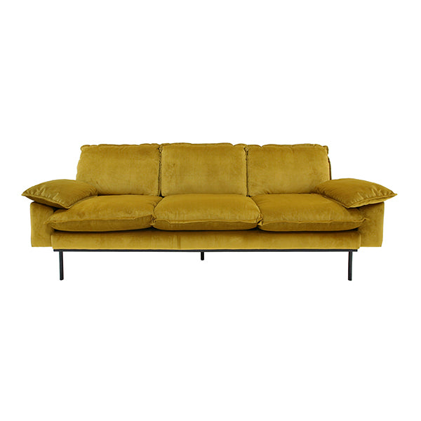 Retro sofa 3 seater ochre